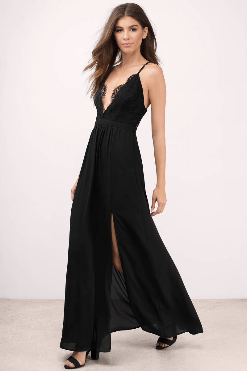 opposites attract black lace maxi dress KRIVCWL