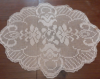 oval crochet tablecloth - crochet doily - oval tablecloth - oval crochet  doily - BDFBGHR