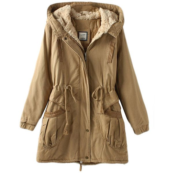 parka coats khaki vintage warm winter tunic hooded womens parka coat (3,760 thb) ❤  liked on EBDVPCQ
