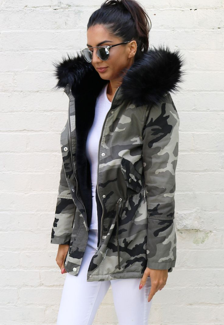 parka coats milly faux fur trim u0026 lined hooded parka in camo print with black WDJBSOX