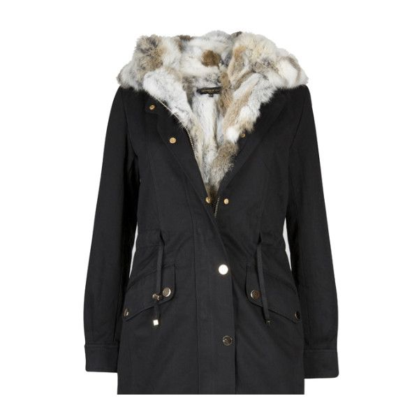 parka coats south west ten black fur lined parka ($535) ❤ liked on polyvore featuring  outerwear QDBLFVD