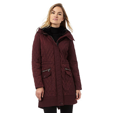 parka coats the collection dark red longline quilted parka coat | debenhams JCMRAWW
