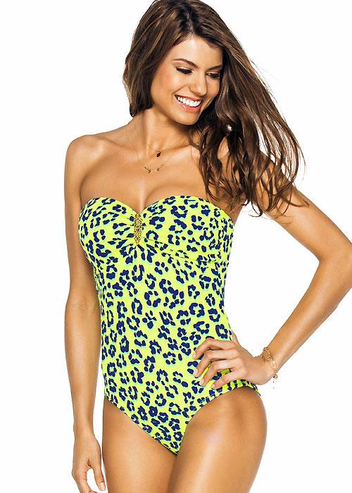 phax neon leopard bandeau swimsuit HJBGXBA
