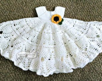 pineapple lace crochet baby dress pattern ESEOCJM