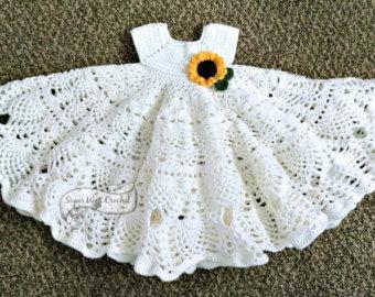 pineapple lace crochet baby dress pattern ESEOCJM