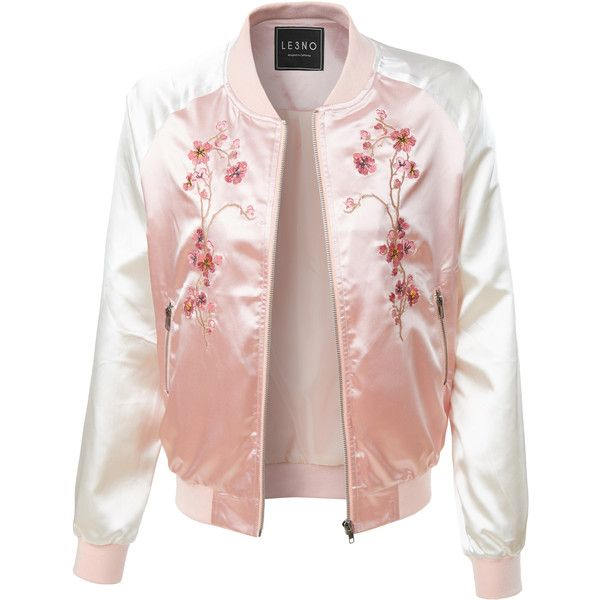 pink jacket le3no womens lightweight satin floral embroidery zip up bomber jacket ($25)  ❤ liked on IYNZXQS