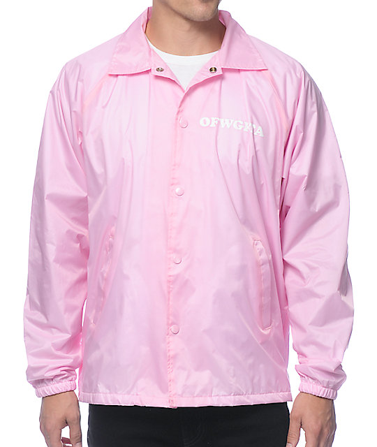 pink jacket odd future donut leaf pink coach jacket TXUOMLC
