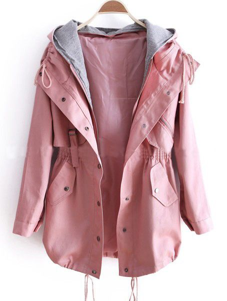 pink jacket pink removable hooded long sleeve drawstring trench coat KEKUBHI