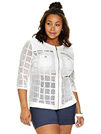 plus size blazers womenu0027s plus size highline zip-up windowpane jacket VCSLLTO