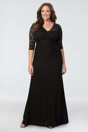 plus size evening gowns long sheath 3/4 sleeves mother and special guest dress - kiyonna HZQHUAT