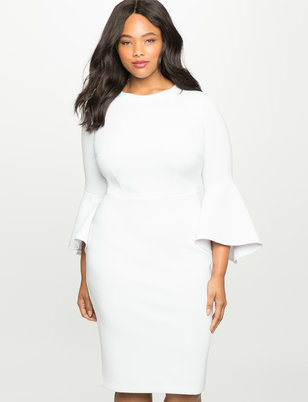 plus size white dress flare sleeve scuba dress VPAAQCQ