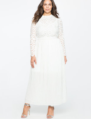 plus size white dress lace evening dress with pleated skirt TYHLCPS