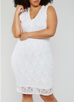 plus size white dress plus size sleeveless lace sheath dress - 0390038347883 YUXOUNG