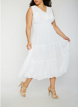 plus size white dress plus size smocked waist maxi dress - 0390056127021 AQIXEYZ