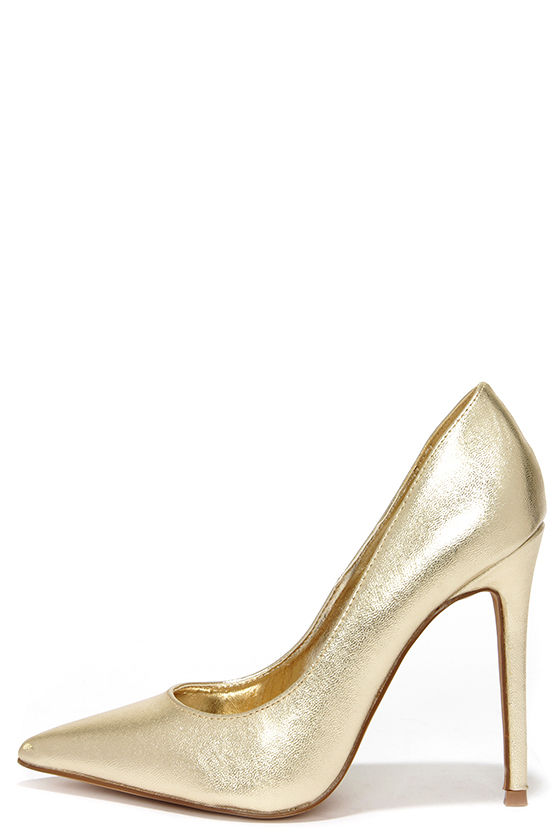 pretty gold pumps - pointed pumps - gold heels - $34.00 XCICRSR