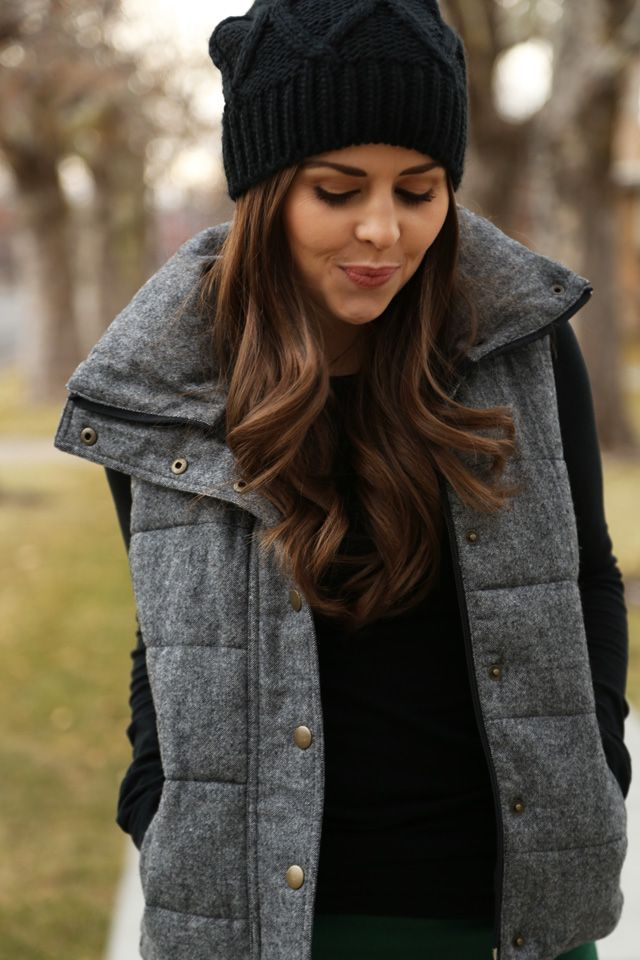 puffer vest 40 cool outfit ideas with puffy vest QNZNPTB