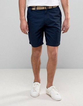 pullu0026bear smart chino shorts with belt in navy CQCYPVX