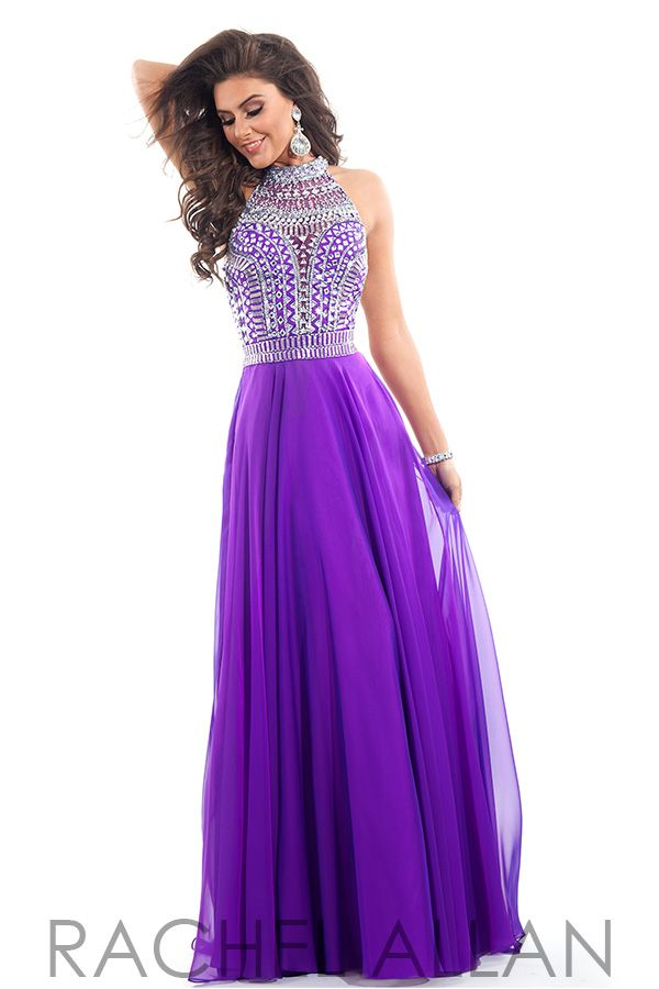 purple prom dresses rachel allan prom 6810 chiffon a-line with heavily beaded high neck bodice NPSOAVE