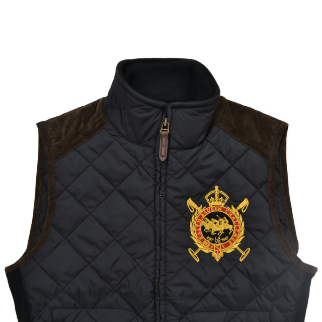 ralph lauren womens quilted puffer vest jacket large crown crest logo l  black YEJTOUD