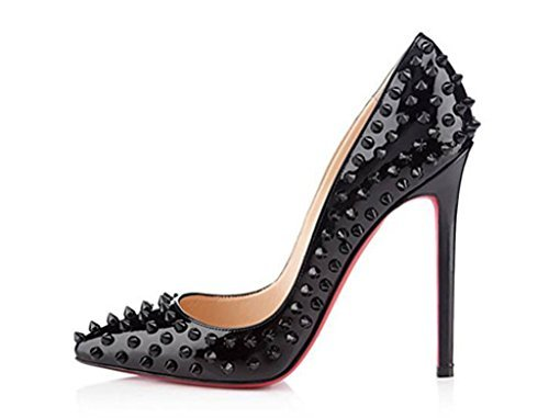 red bottom heels katypeny womens rivet stud pointed toe stilletto high heels pumps for  bridal prom party LNVTQYE