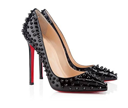 red bottom heels naly womenu0027s black classic studded bridal pointed toe pumps stiletto  evening dress high heels DPMSITE