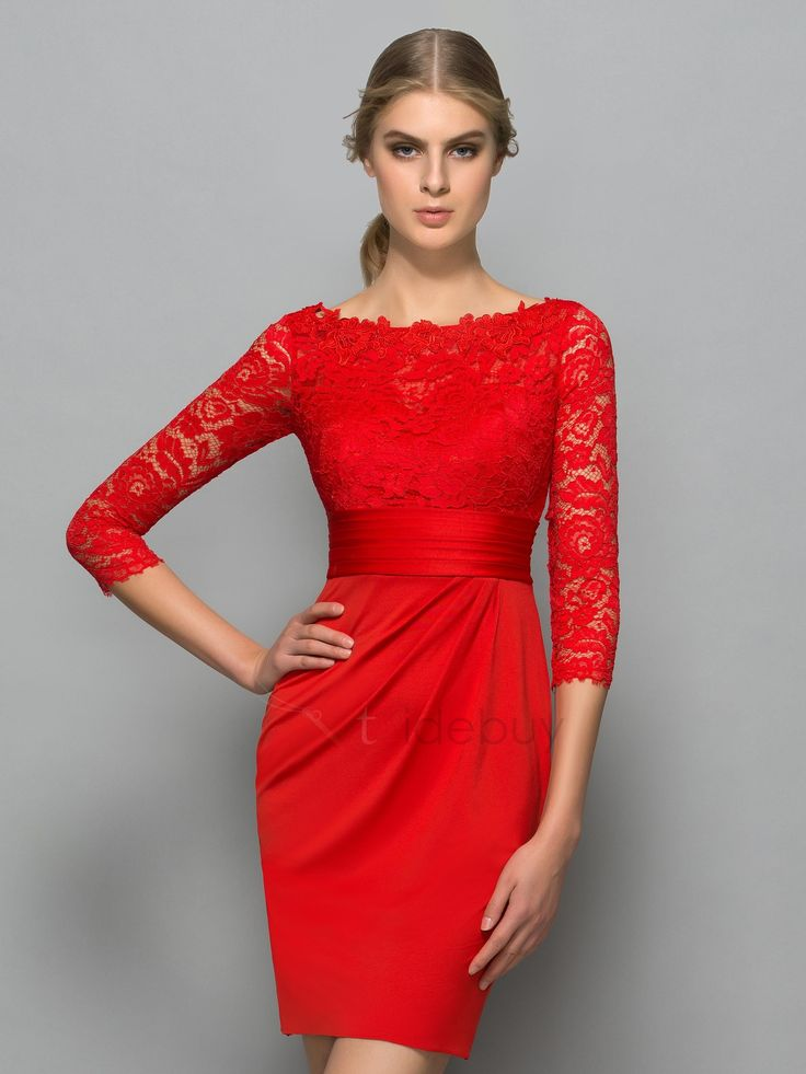 red cocktail dress classy bateau neck 3/4 length sleeve red lace cocktail dress YQCZFKF