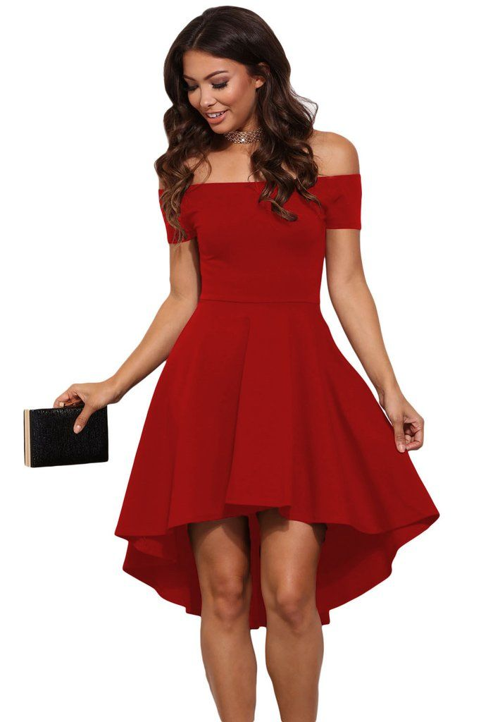 red cocktail dress hot red all the rage off shoulder high low skater dress YLEULSL
