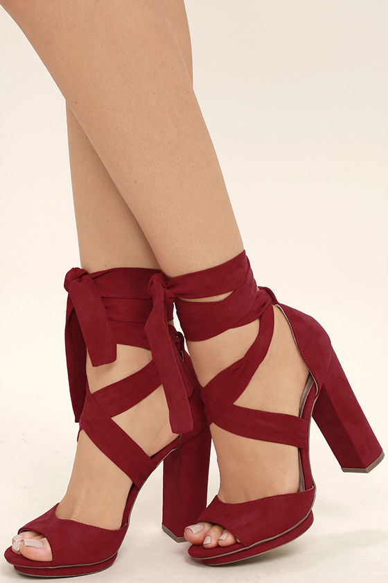 red heels dorian dark red suede lace-up platform heels 1 PIPQDXX