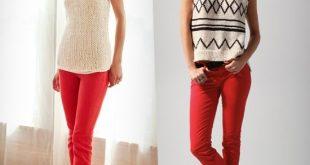 red jeans cream NSKHZKJ