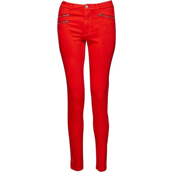 red jeans french connection lily super skinny jeans , masai red ($105) ❤ liked on  polyvore AYAVSQJ