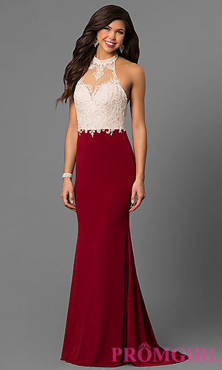 red prom dress long high-neck halter prom dress with lace -promgirl VBZHDKJ