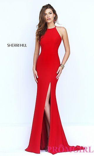 red prom dress long open back sherri hill prom dress-promgirl GIWDORE