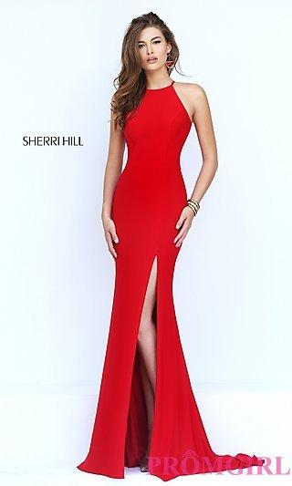 red prom dress long open back sherri hill prom dress-promgirl GIWDORE