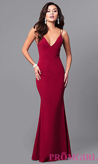 red prom dress long open-back v-neck cheap prom dress - promgirl QJAGMZI
