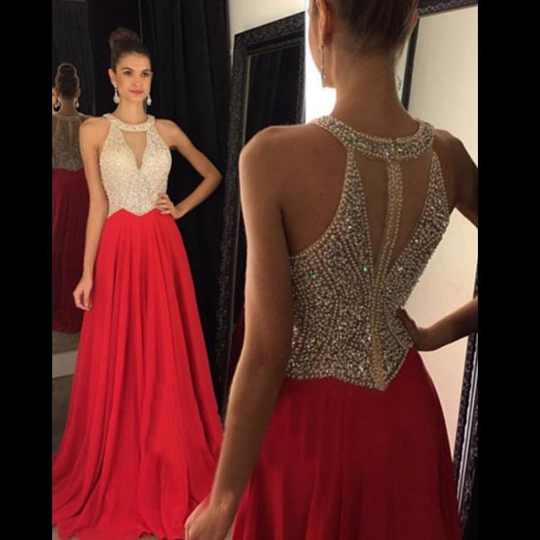 red prom dresses, halter prom dresses, sexy prom dresses, custom prom  dresses, AQMJQSB
