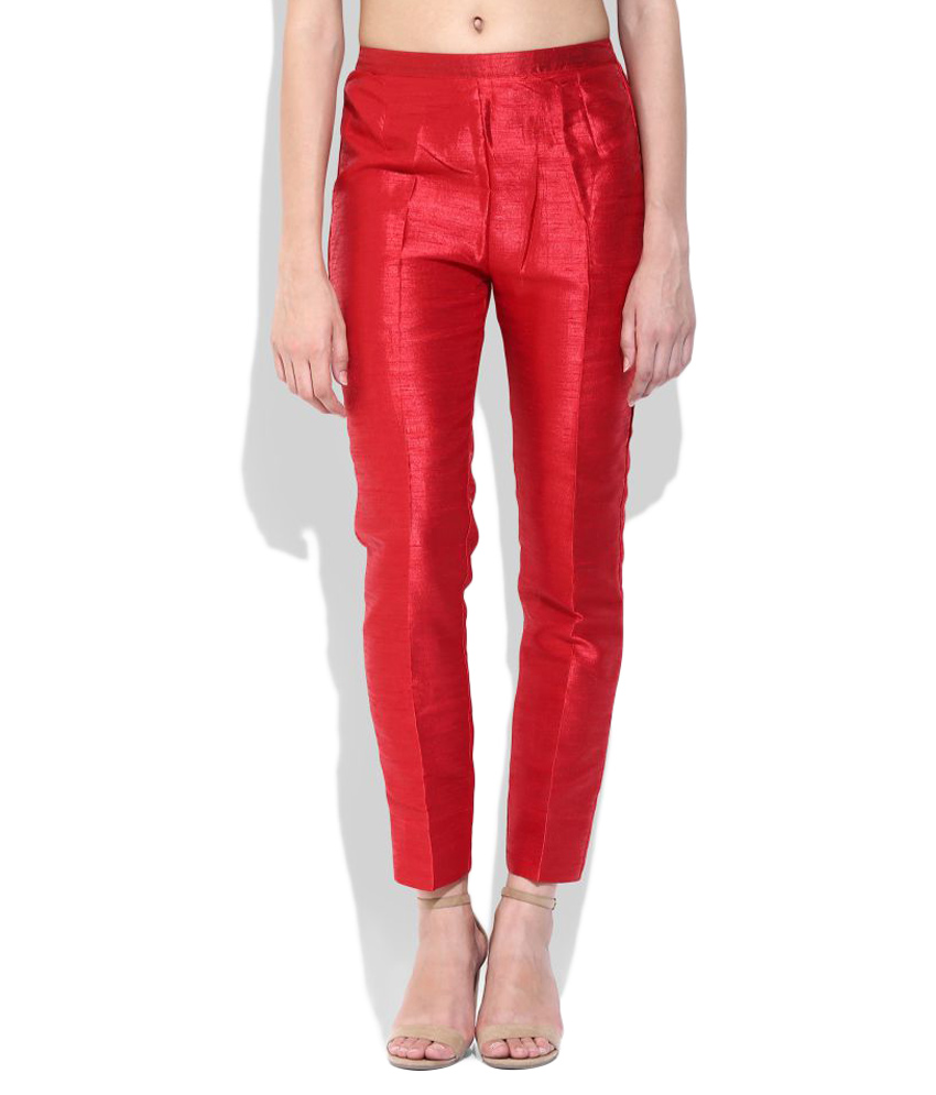 red silk cigarette pants ... LRFPEVD