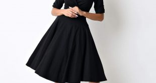 retro dresses 500 vintage style dresses for sale 1950s style black delores sleeved swing  dress $88.00 GWYFHFO