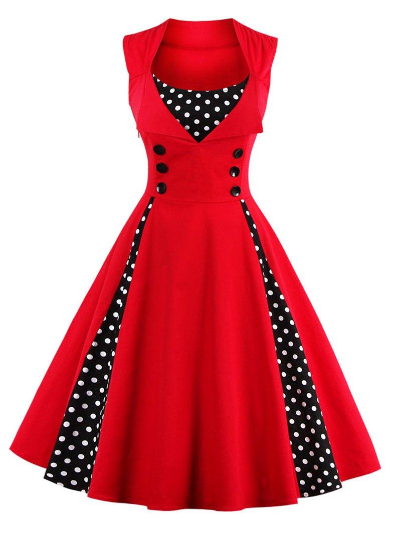 retro dresses midi polka dot prom rockabilly swing vintage prom dresses PJJVZVI