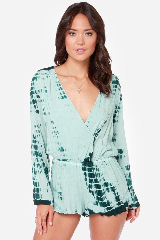 sexy green romper - green tie dye - long sleeve romper - $72.00 MQDNUIU