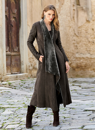 shearling coat masterfully crafted of soft, sueded turkish shearling, this sublime coat  exudes luxury and romance CPEWHFN