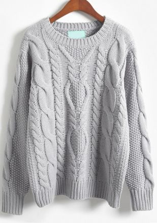 sheinside offers grey long sleeve batwing cable knit sweater u0026 more to fit  your FIGQJPK