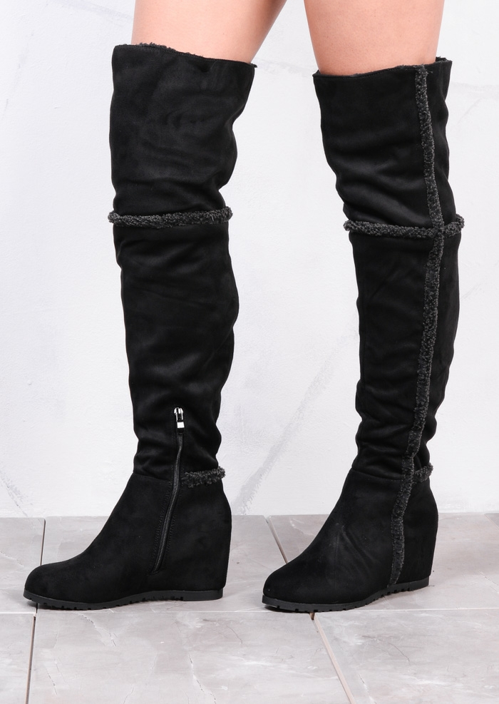 shepha wedge over the knee foldable long boots suede black UBHMTJT