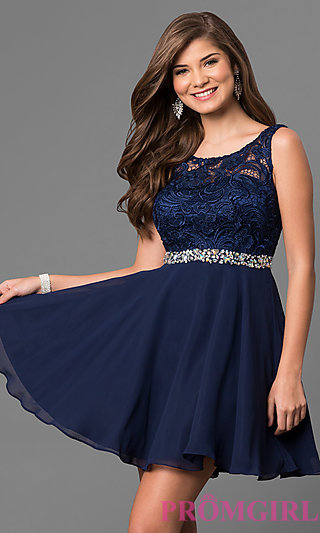 short dresses a-line lace-bodice short homecoming dress-promgirl LNYTUDZ