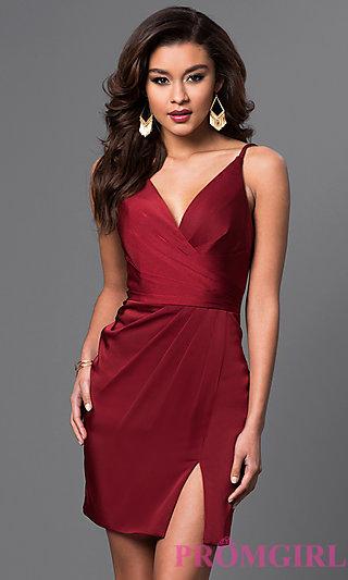 short dresses faviana short satin ruched dress - promgirl DWRSSLF
