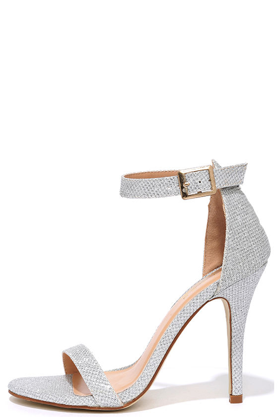 silver glitter heels silver heels - gold heels - glitter heels - ankle strap heels - $31.00 ZIWALFE
