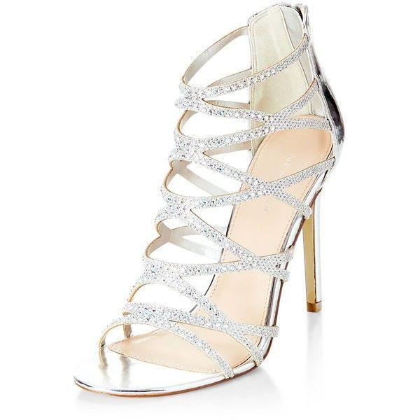 Aldo Shoes Womens Silver Glitter Strap Pumps