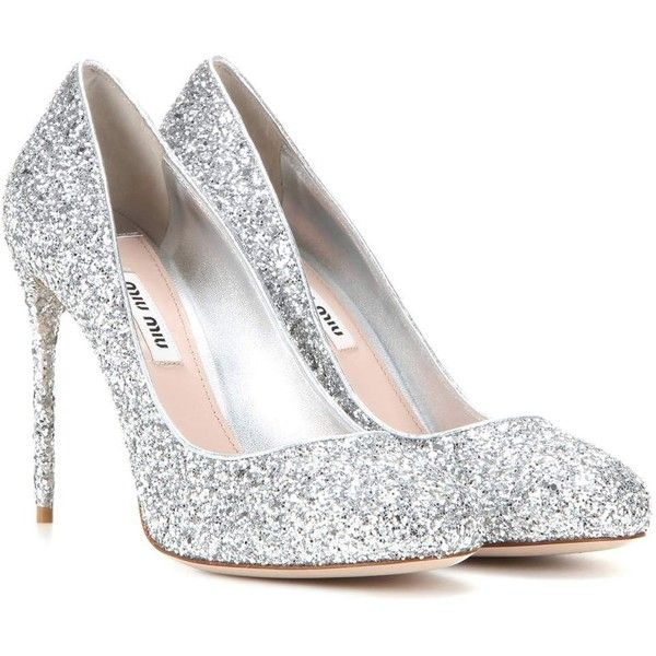 silver pumps miu miu glitter pumps (17.315.515 vnd) ❤ liked on polyvore featuring shoes ERHYQUE