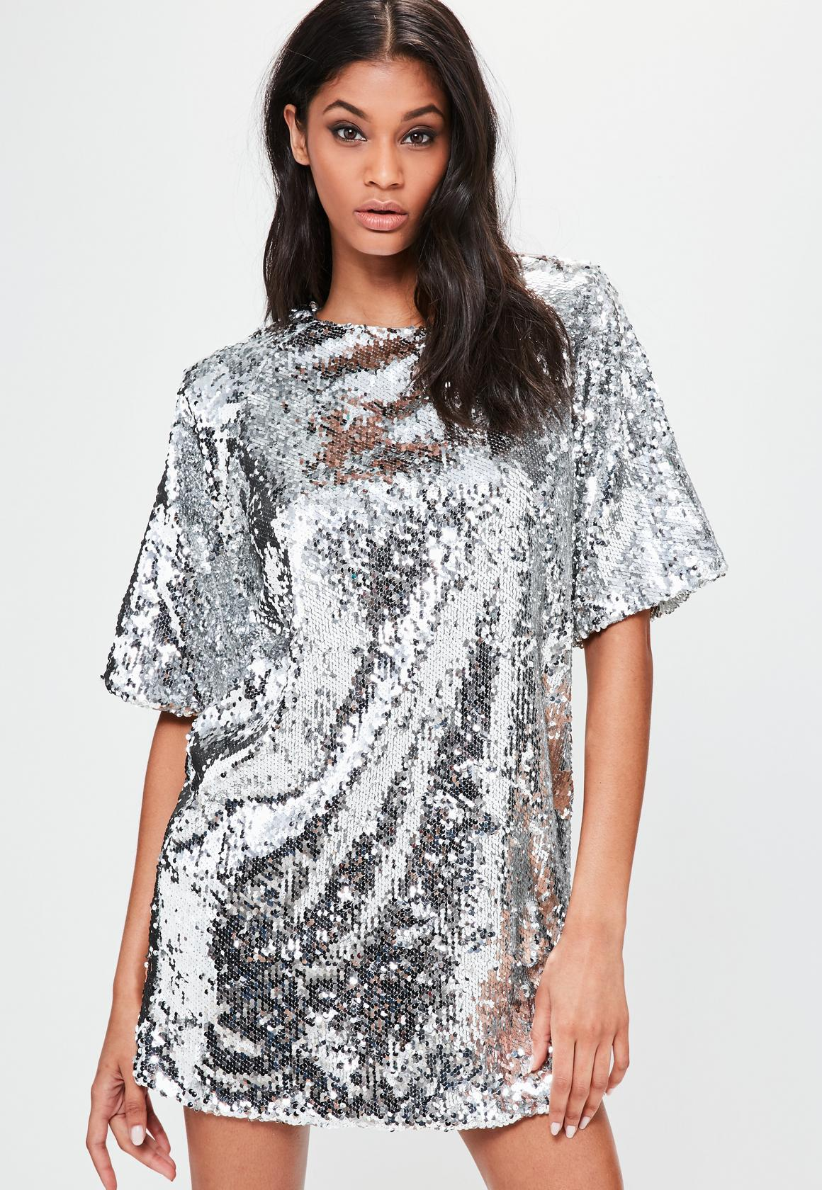 silver sequin dress londunn + missguided silver sequin mini dress QJRSOKB