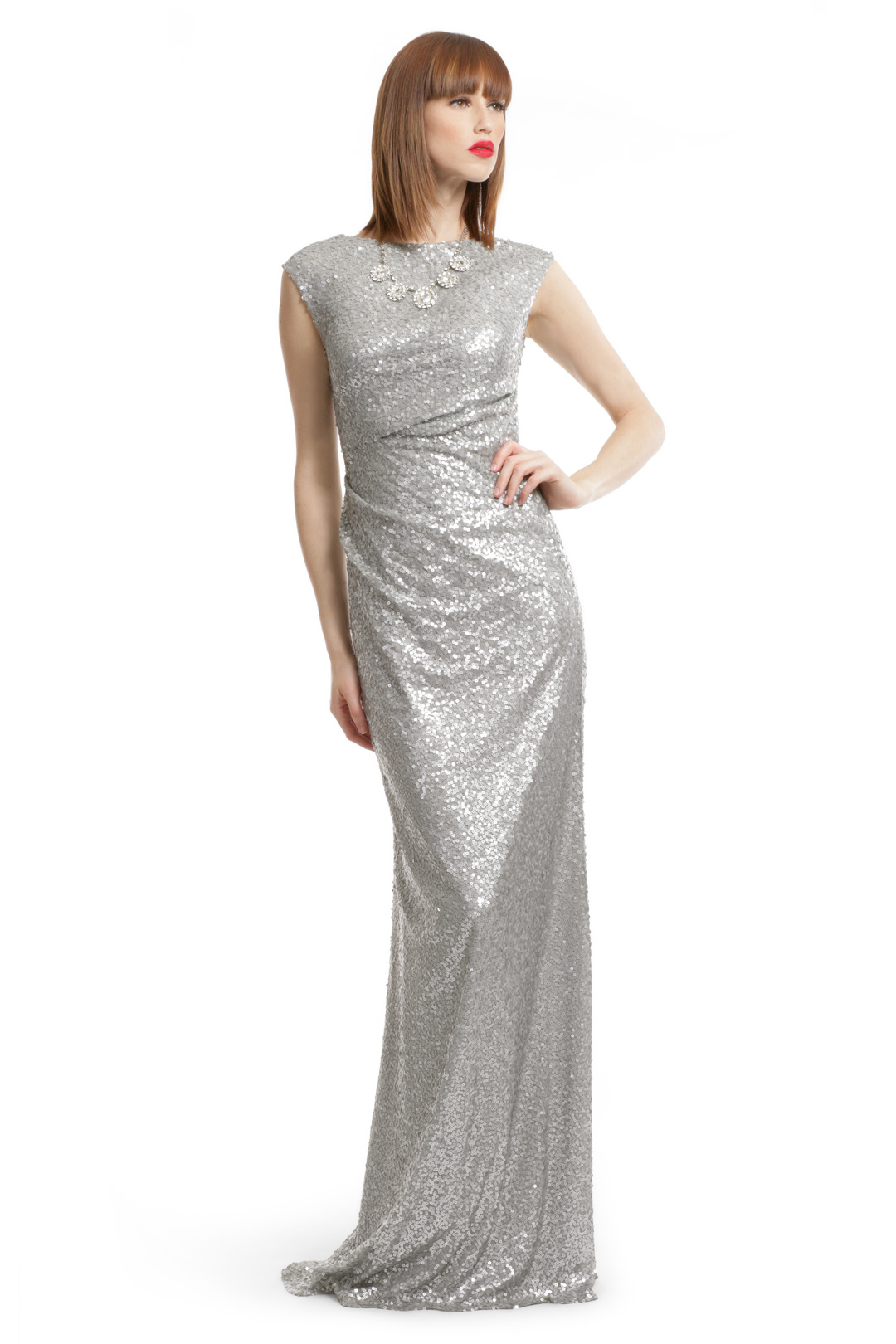 silver sequin dress silver sequin shine gown by david meister for $49 | rent the runway XDOOXBI