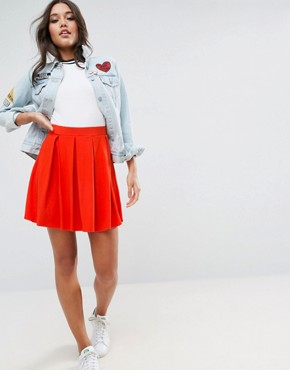 skater skirts asos mini skater skirt with box pleats ZHBVNKH